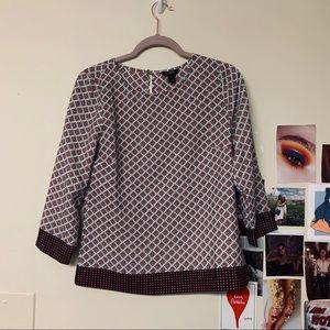 J. CREW Maroon Pattern Blouse